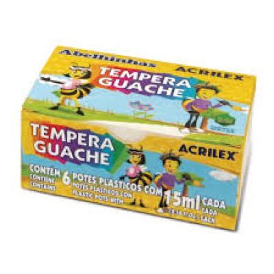 TINTA GUACHE ACRILEX C/ 6 CORES 15 GRS