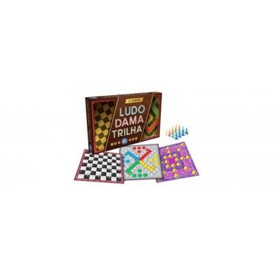 3 Jogos em 1 - Ludo, Dama E Trilha - Pais E Filhos