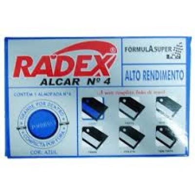 ALMOFADA P/ CARIMBO Nº 4 C/TAMPA PLASTICA COR AZUL RADEX