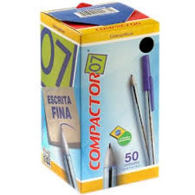 CANETA 0.7 ESCRITA FINA AZUL COMPACTOR CX C/ 50