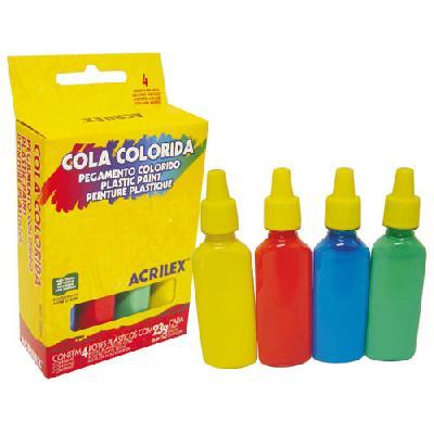 COLA COLORIDA ACRILEX C/ 4 CORES