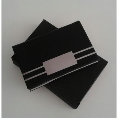 Porta Cartão  Credito E Visitas Preto Placa Metal Polido