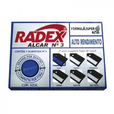 ALMOFADA P/CARIMBO Nº 3 C/TAMPA PLASTICA - AZUL RADEX