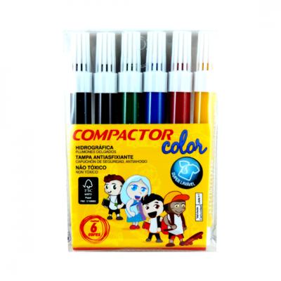 PINCEL COMPACTOR COLOR CANETAO C/ 6 CORES