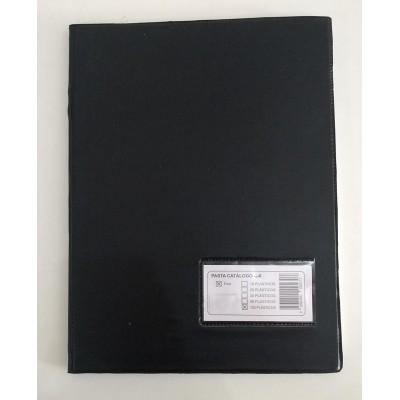 Pasta Catálogo Preta Com 50 Envelopes Com Visor